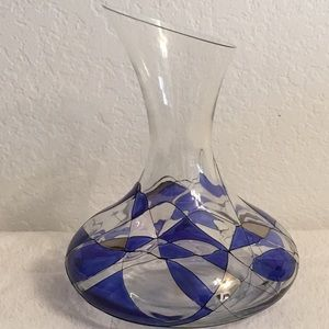 Glass Blown Blue La Fleur Decanter